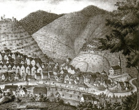 1849 Schiltach-Stahlstich von Merian